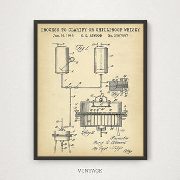 Whiskey Poster, Chilproof Whiskey Patent, Clarify Whiskey, Bar Decor, Vintage Whiskey Art Print, Rye Whiskey, Liquor Spirits Drinks Wall Art