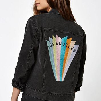 ESBONDI5 Los Angeles Embroidered Denim Jacket