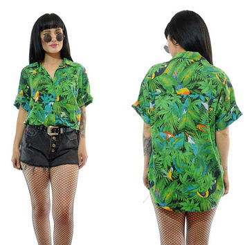 vintage 90s PARROT bird shirt classic Hawaiian top Tropical print floral shirt blouse grunge green safari 1990s slouchy small medium