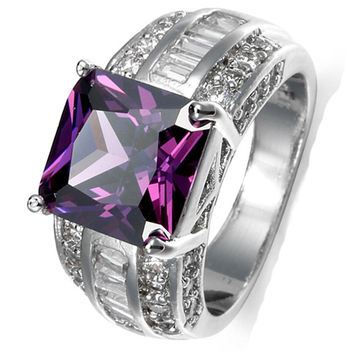 Purple Crystal Zircon Pomegranate Red Wedding Jewelry White Gold 10*10mm Big Stone Engagement Ring