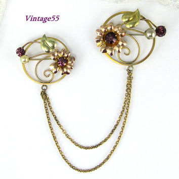 Brooch Chatelaine Amethyst Glass Pearl Gold filled