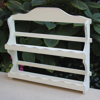 White shabby chic wood spice rack