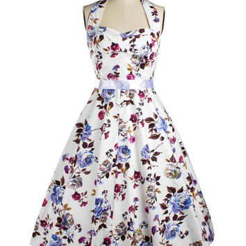 Audrey Hepburn Dress Retro Style 50s Flowers Printed White Sleeveless  Midi Swing Halter Dress