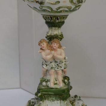 Dresden German Porcelain Banquet Lamp Cherubs & Flowers