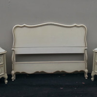 French Provincial Vintage Country French Shabby Chic Coastal Cottage Bedroom Set by Dixie