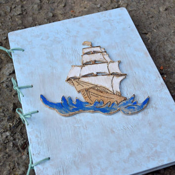 Blue sea ship book,Wood book,Pirates ship,Baby boy shower gift,Kids photo album,Guest Registry,Personalized Notebook,sketchbook,Birthday