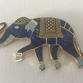 Vintage blue elephant pin, elephant with trunk up pin, lucky elephant pin, blue and gold elephant pin, India pin, Hindu, Ganesha, success
