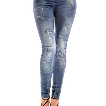 Blue Stained Hole Faux Denim Tattoo Leggings