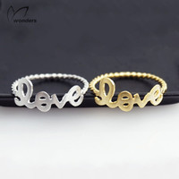 Rose Gold Jewellery Anel Bff Twist Love Letter Charm Statement Ring