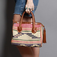80s KILIM Doctor BAG / Turkish Style SATCHEL Purse with Leather Fringe