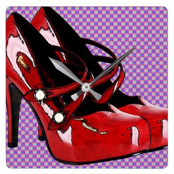 Red High Heel Shoes polka dots Fashion Art Square Wall Clock