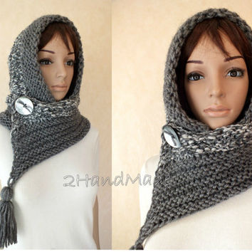 Grey Hand Knit Hooded Scarf Merino  Pom Pom Hat Infinity Hood Scarf Chunky Hat Chunky Hooded Cowl Winter Hoodie Hood Hand Home Spun Wool