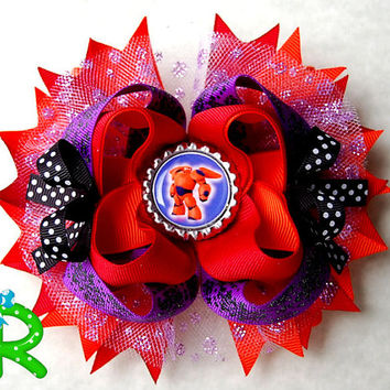 Baymax Boutique Hair Bow, Big Hero 6 Stacked hair bow , Baymax Layered Bow , Ott BOw