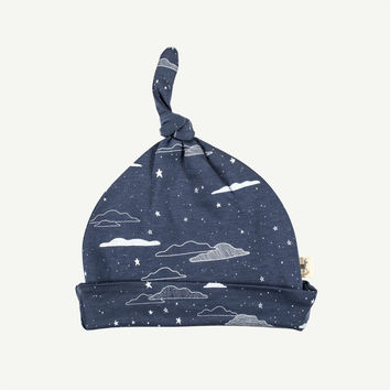 Cloudy Night Sky Print Baby Knot Hat