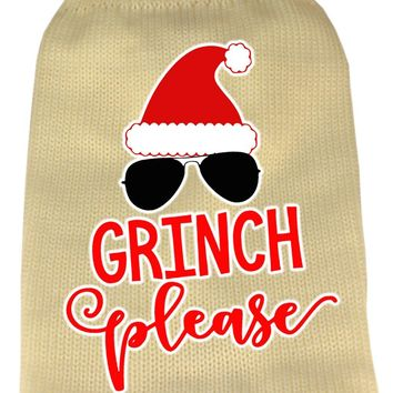Grinch Please Screen Print Knit Pet Sweater Xs Cream