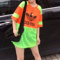 """Adidas""Woman's Leisure  Fashion Letter Printing Spell Color Loose Short Sleeve Tops"
