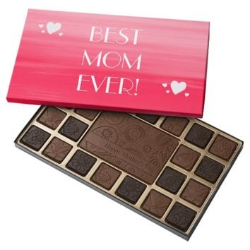 Mother's day soft feminine shades of pink stripes 45 piece box of chocolates