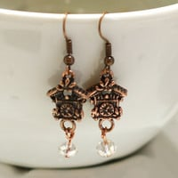 Cuckoo Clock earrings in antique copper with clear crystal beads Fashion Earrings