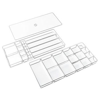 InterDesign Linus Jewelry Earrings Rings Necklaces Drawer Organizer Holders - 37 compartments, Clear
