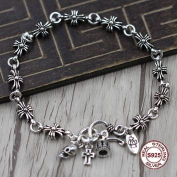 S925 Men's bracelet in Sterling Silver Personality trend smooth domineering Punk style retro classic Send a gift to love