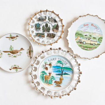 Set of Vintage California Travel Plates, Kitsch Souvenir Plate Lake Tahoe, Sequoia Kings Canyon, Roadrunner and Camper