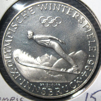 1964 Austria Innsbruck Winter Olympic Games 50 Shilling Silver Proof Coin Commemorating the IXth  Olympiad Winter Games