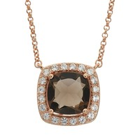 Smoky Quartz & Lab-Created White Sapphire 18k Rose Gold Over Silver Halo Necklace (Brown)