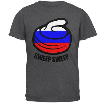 Winter Sports Flag Curling Sweep Sweep Russia Mens T Shirt