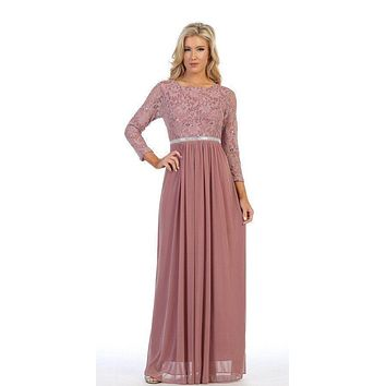 Mauve Three-Quarter-Sleeve Long Formal Dress A-line