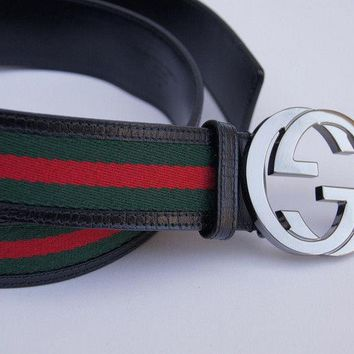 NWT Made in Italy Simplicity 100% Authentic Gucci Men's Web Stripe Belt Fashion