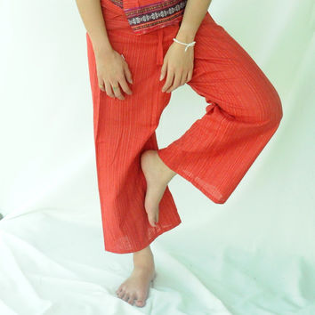 Fishermans pants, Yoga , asia pant , bohemian ,Thailand, wrap pants, hippie pant, embroidered, 100% cotton