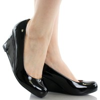 Forever Link Women's DORIS-22 Patent Round Toe Wedge Pumps
