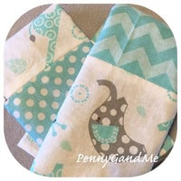 Personalized Elephant and Giraffe Burp Cloths ~ Elephant Baby Shower Gift ~ Gender Neutral Burp Cloths ~ Turquoise and Grey Burp Cloths