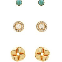 Gold Turquoise & Knot Stud Earrings - 3 Pack by Charlotte Russe