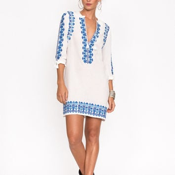Santorini Embroidered Tunic Dress - White