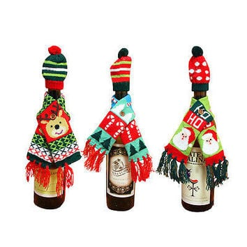 2X Wine Bottle Cover Xmas Santa Table Decor Christmas Bottle Cap Party Gift HU