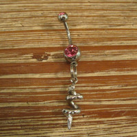 Belly Button Ring - Body Jewelry -Corkscrew Charm With Pink Gem Stone Belly Button Ring