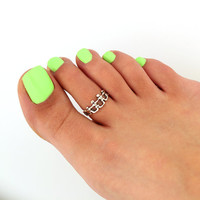 toe ring sterling silver toe ring united people design adjustable toe ring (T-64) Also knuckle ring