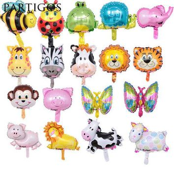 ICIK4S 8pcs Mini Animal Foil Balloons Lion & Monkey & Zebra & Deer & Cow Animal Head Air Balloon birthday party Decor Toys Supplies