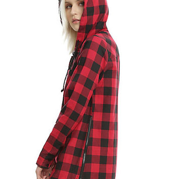 Red & Black Buffalo Plaid Girls Hooded Tunic Woven Button-Up