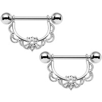 "14 Gauge 5/8"" Clear CZ Gem Steel Scalloped Dangle Nipple Ring Set"