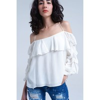 White Open Shoulder Blouse