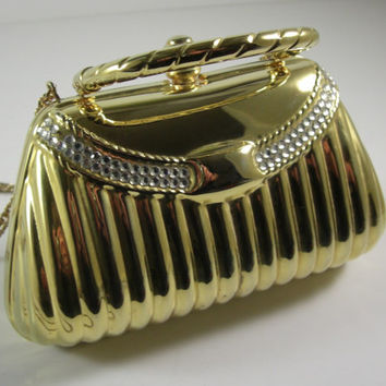 Elegant Y & S Original Metal Evening Bag / Clutch / Shoulder Bag / Gold Tone with Rhinestones