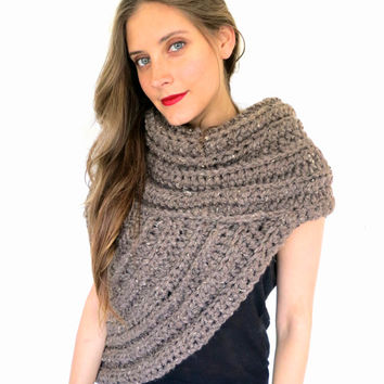 Chunky Knit Asymmetrical Cowl Vest Shawl Scarf One Armed // Huntress Vest in Woodland // Many Colors and Vegan Options Available