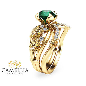 Unique Emerald Engagement Ring Set Floral 14K Yellow Gold Bridal Ring Set 1 Carat Emerald Engagement Rings Emerald Rings
