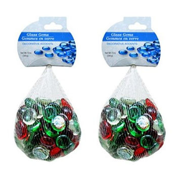 Christmas-Colored Glass Gems for Crafts, Candles, Flower-Arranging, Gift Baskets and Kits (340 Grams x 2)