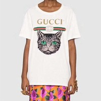 """""""Gucci"""" Women Casual Fashion Letter Cat Sequin Embroidery Short Sleeve Round Neck T-shirt Tops"""