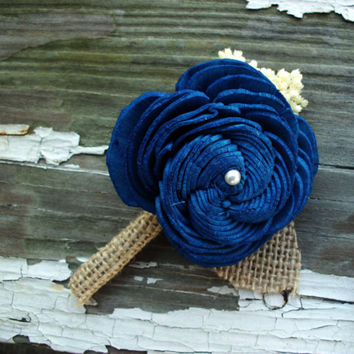 Navy blue sola boutonniere rustic wedding