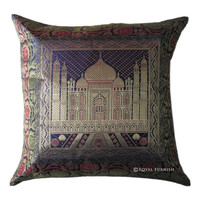 Blue Tajmahal Decorative  Accent Silk Brocade Pillow Cover on RoyalFurnish.com