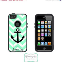 SALE Otterbox Commuter iPhone 5 5s Cell Phone Case Chevron Anchor Apple Custom Personalized Name Monogram Protective Hard Cover OB-1001
